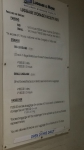 Tarifs consigne Manille Airport