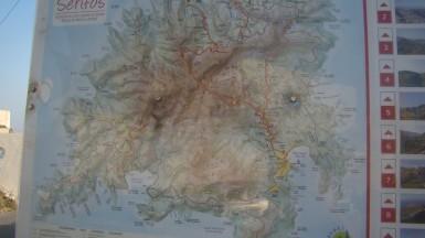 Carte de randonnées à Serifos Island